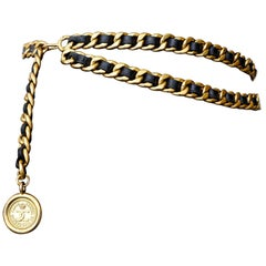Chanel Double Gold Chain and Woven Leather Belt