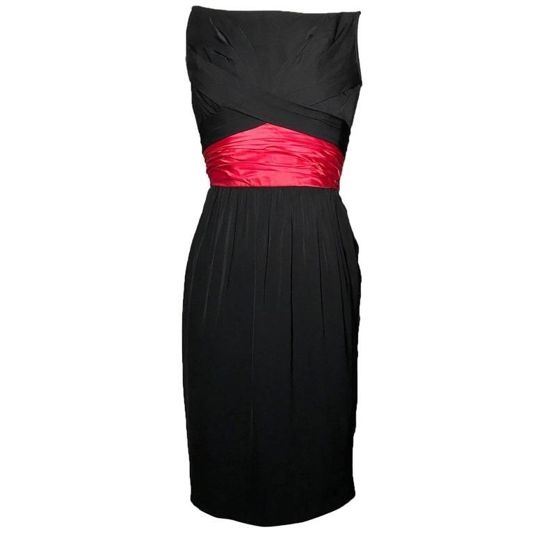 Ceil Chapman 1950s Silk Cocktail Dress with Pink Red Sash Cummerbund 1