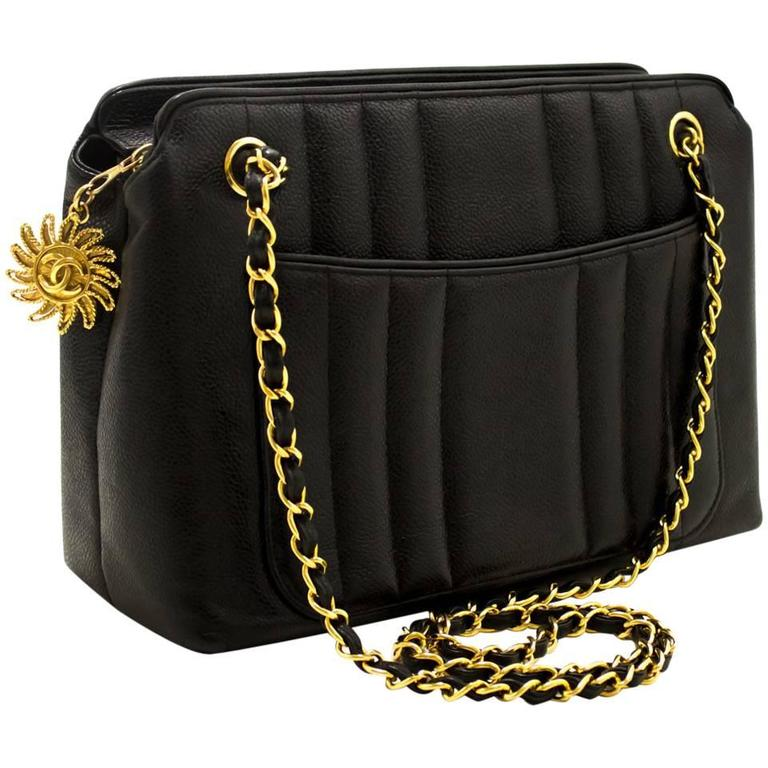 e7ebda465 CHANEL Caviar Sun Gold Chain Shoulder Bag Black Quilted Leather For Sale