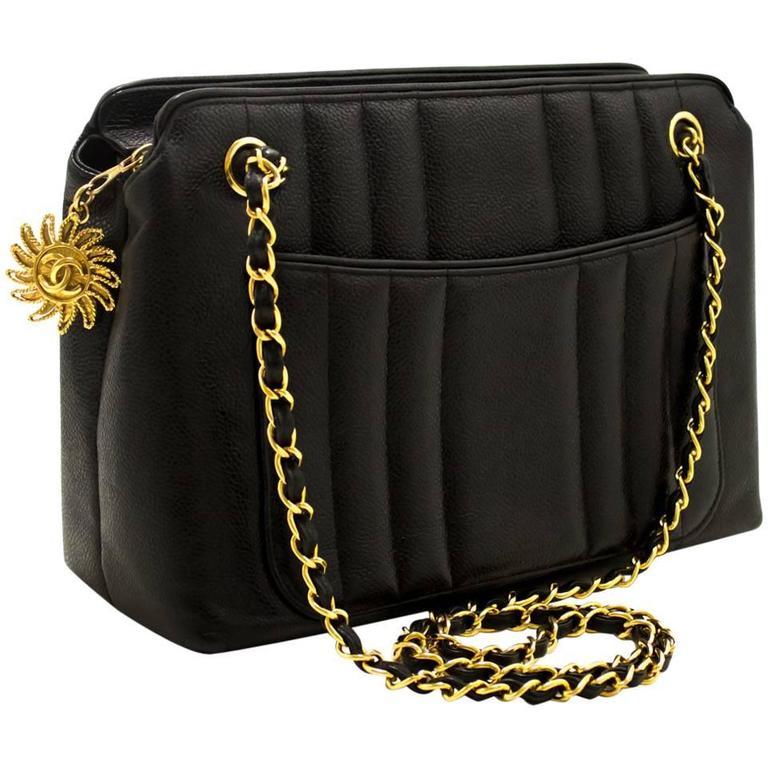d1de160de29a CHANEL Caviar Sun Gold Chain Shoulder Bag Black Quilted Leather For Sale