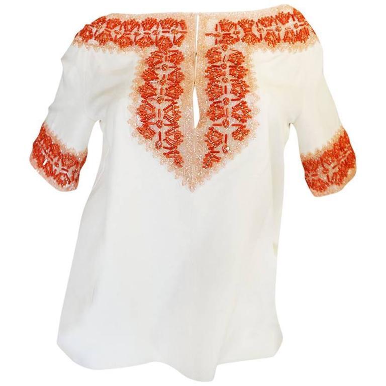 1990s Valentino Coral Beading on Net Cream Silk Top For Sale