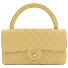 """Chanel 10"""" Beige Quilted Leather Flap Hand Bag"""