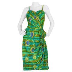 1950s Mildreds of Hawaii Green & Blue Print Sarong Dress