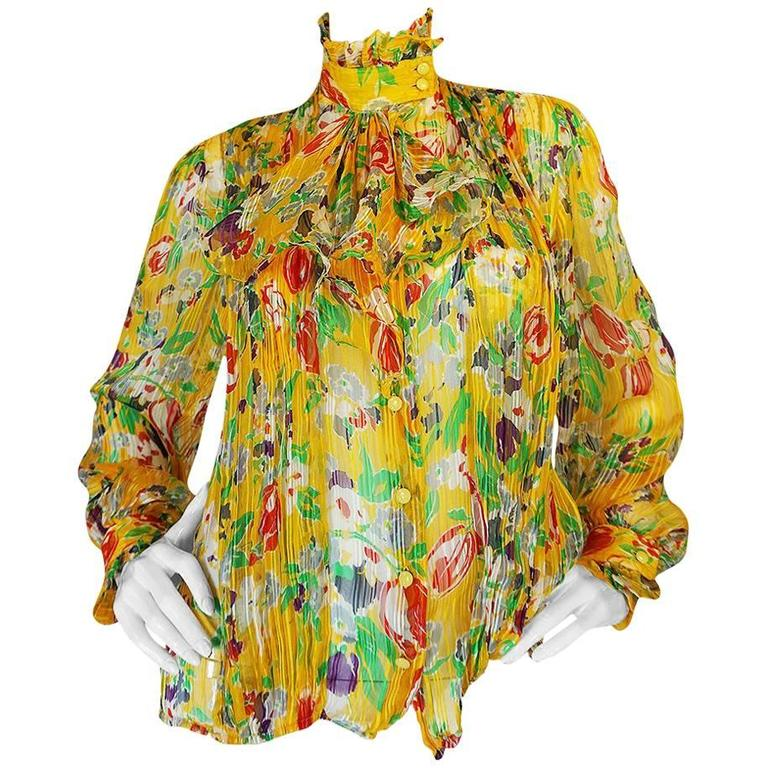1970s Ungaro Yellow Floral Print Silk Ascot Top 1