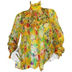 1970s Ungaro Yellow Floral Print Silk Ascot Top