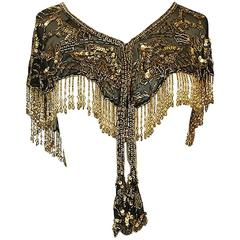 Stunning 1970s Gold Bead & Fringe on Chiffon Capelet