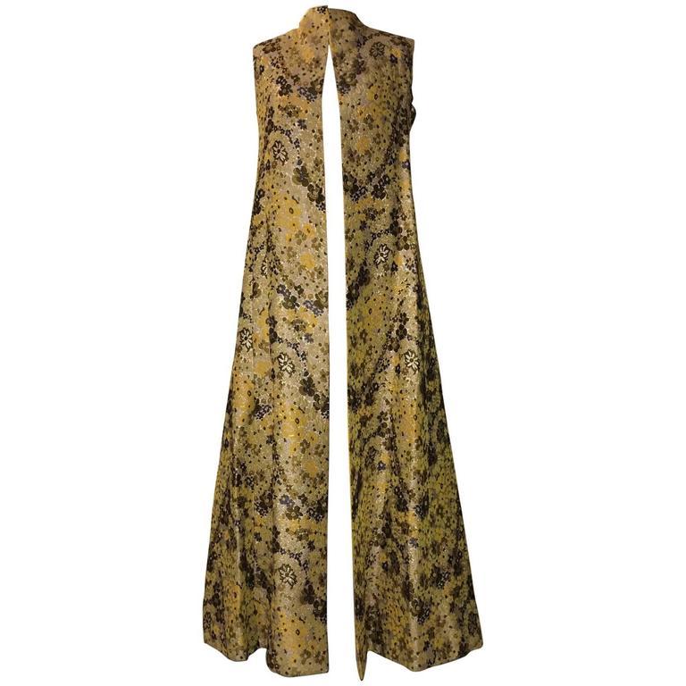 Guy Laroche 1960s Metallic Gold Yellow Floral Print Open Front Long Maxi Vest 1