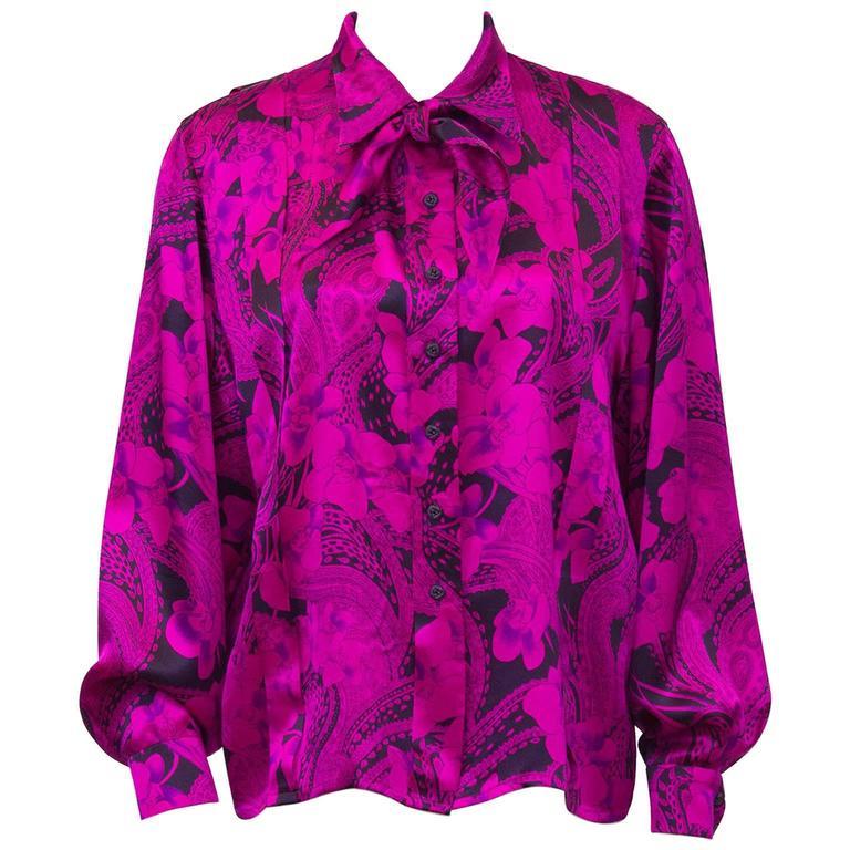 1980's Scherrer Hot Pink and Black Paisley Silk Blouse