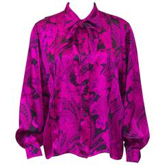 1980's Scherrer Hot Pink and Black Paisley Silk Blouse