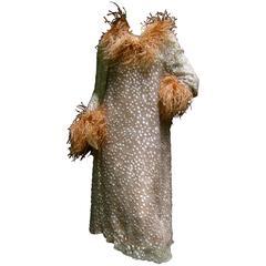 Ostrich Feather Trim Mocha Brown Sheer Devore Silk Dress ca 1970s