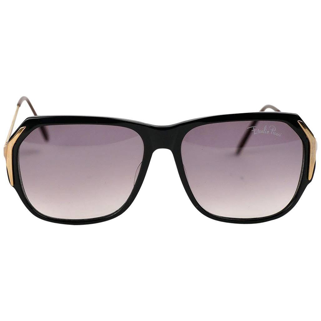 Emilio Pucci Black and Gold Sunglasses