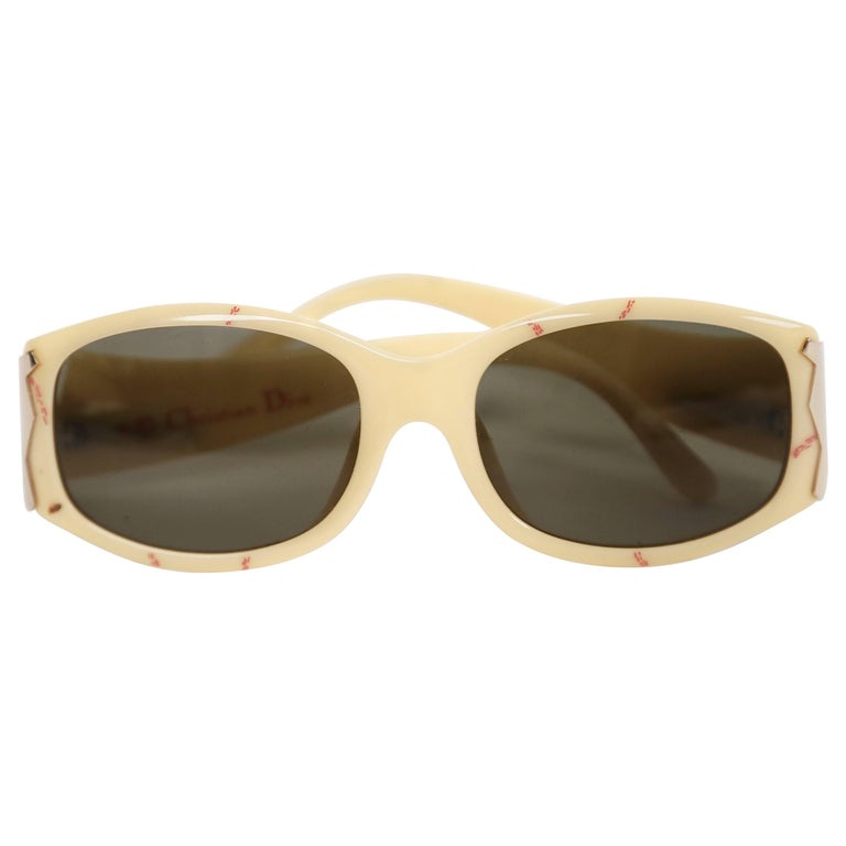1990's CHRISTIAN DIOR plastic sunglasses with rose gold accents at temples For Sale
