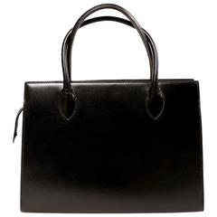 1980's AZZEDINE ALAIA minimal jet black leather box bag