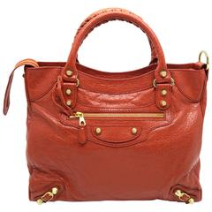 Balenciaga Giant Velo Red Lambskin Leather Gold Metal Handbag