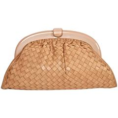 1980's BOTTEGA VENETA blush woven leather clutch with lucite frame