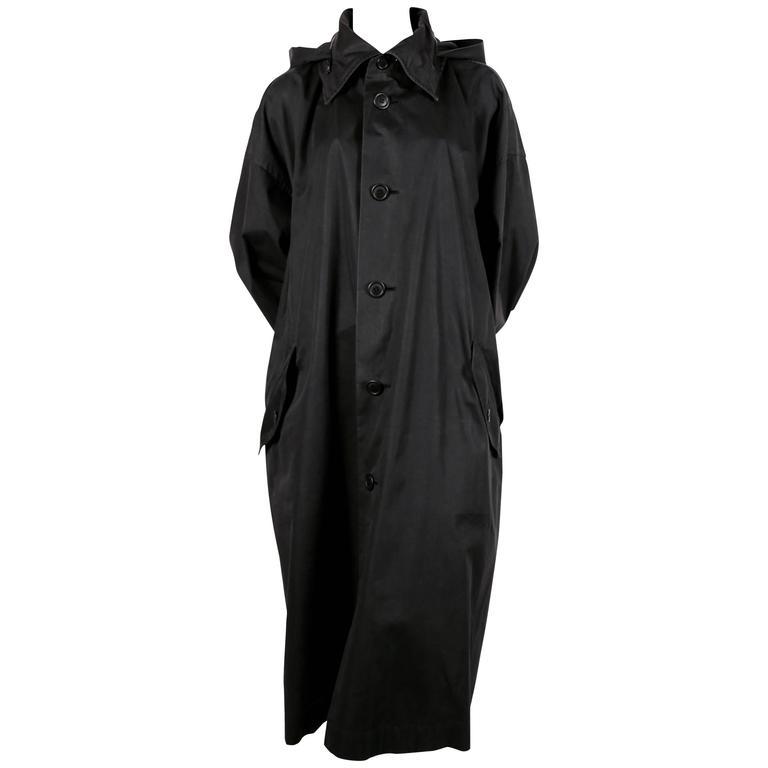 1980's ISSEY MIYAKE slate grey hooded windcoat