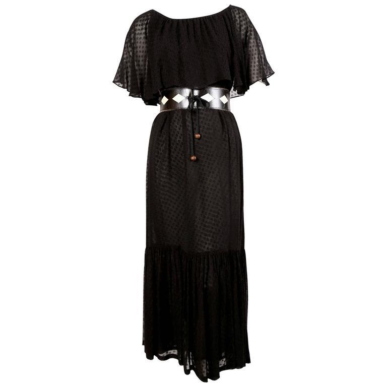 1970's YVES SAINT LAURENT black off-the-shoulder peasant dress 1
