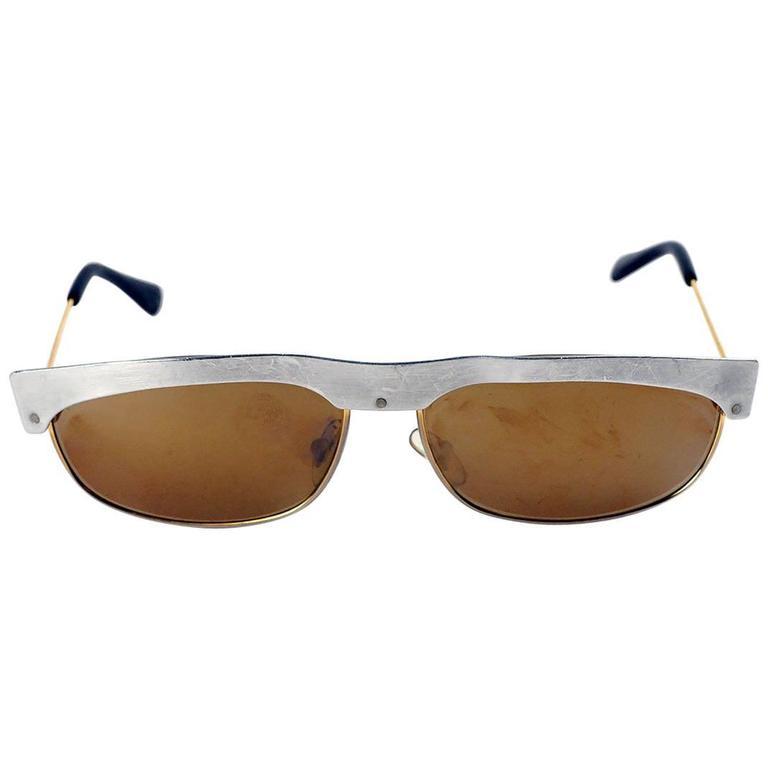 Vintage Metal Frame Glasses : Vintage Custom Metal Frame Sunglasses For Sale at 1stdibs