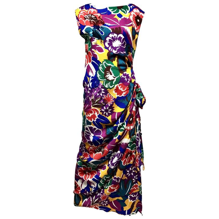 Oscar De La Renta Multi Color Print Floral Print Dress, 1990s