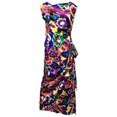 1990s Vibrant Oscar De La Renta Multi Color Print Floral Print Dress
