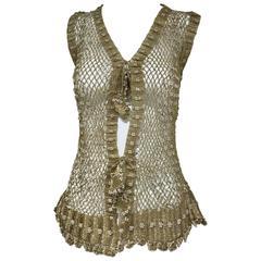 1970s gold mesh vest