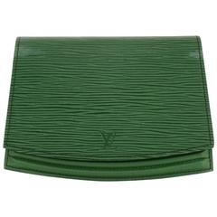 Vintage Louis Vuitton Ceinture Tilsitt Green Epi Leather Clutch Pochette Bag