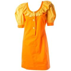 Yves Saint Laurent 80s Puff Sleeve Ruffle Collar Mini Dress