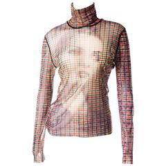 Jean Paul Gaultier Sheer Face Print Plaid Top