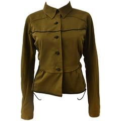 Issey Miyake Khaki Jacket with Contrast Elastic Corset Details and Piping 2000's