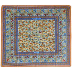 "Hermès Rare Silk Carre Scarf ""Chasse en Inde"" by Michel Duchene"