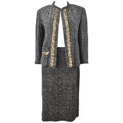 Yohji Yamamoto 'Chanel Homage' Black and White Tweed Skirt Suit with Gold Sequin