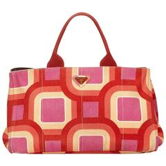 Prada Retro Printed Canapa Tote Bag