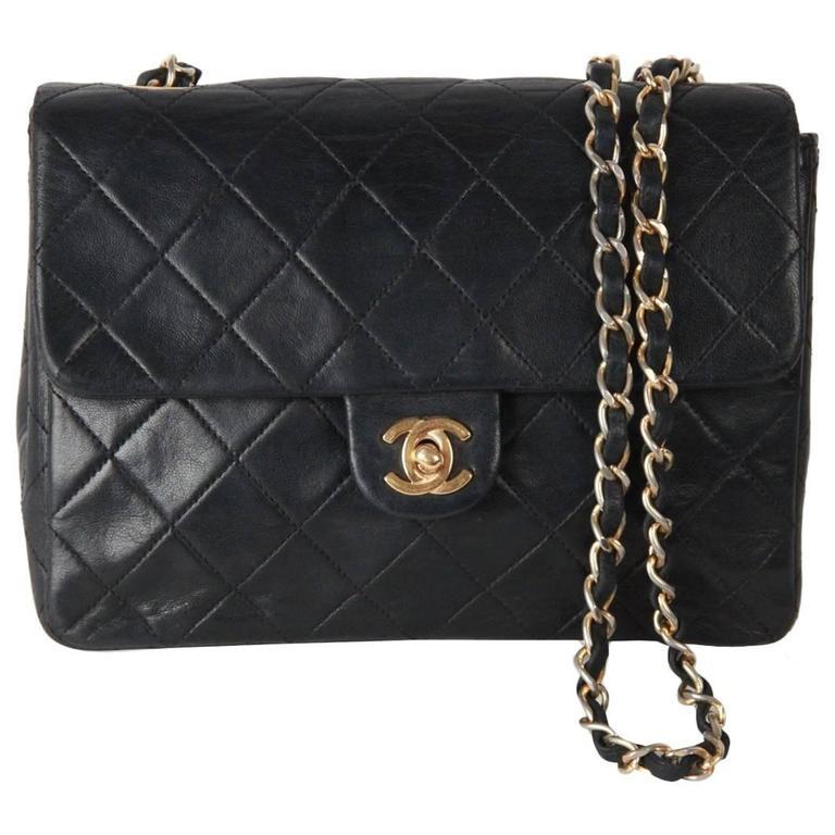 Chanel Vintage Black QUILTED Leather Mini 20cm Flap Bag ...