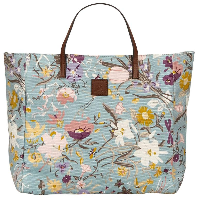 Gucci Blue With Multi Coloured Fl Printed Canvas Tote Bag For