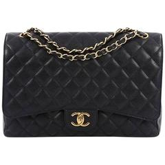 Chanel Classic Double Flap Bag Quilted Caviar Maxi