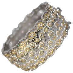 Filigree Bracelet in Rhodium and Yellow Gold