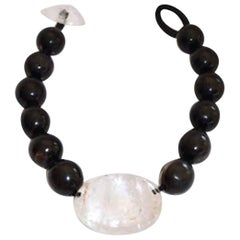One of a Kind Monies Ebony Wood and Rock Crystal Necklace