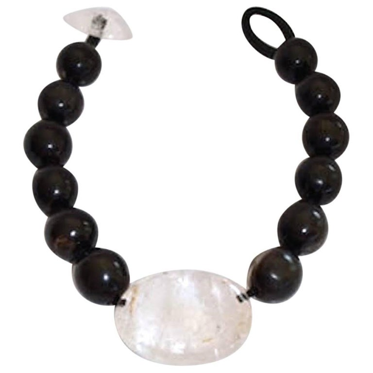 One of a Kind Monies Ebony Wood and Rock Crystal Necklace For Sale