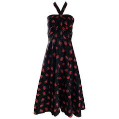 Vintage Guy Laroche Size 44 Black + Red Oriental Themed Cotton Halter Sun Dress