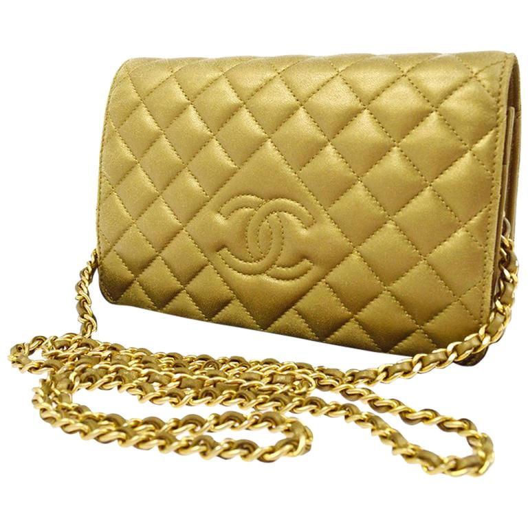 Chanel 3way Gold Lambskin Woc Wallet On Chain Crossbody