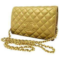 Chanel 3way Gold Lambskin WOC Wallet on Chain Crossbody Clutch Purse