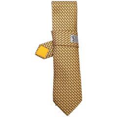 Hermes Yellow & Grey Anchor Print Silk Tie