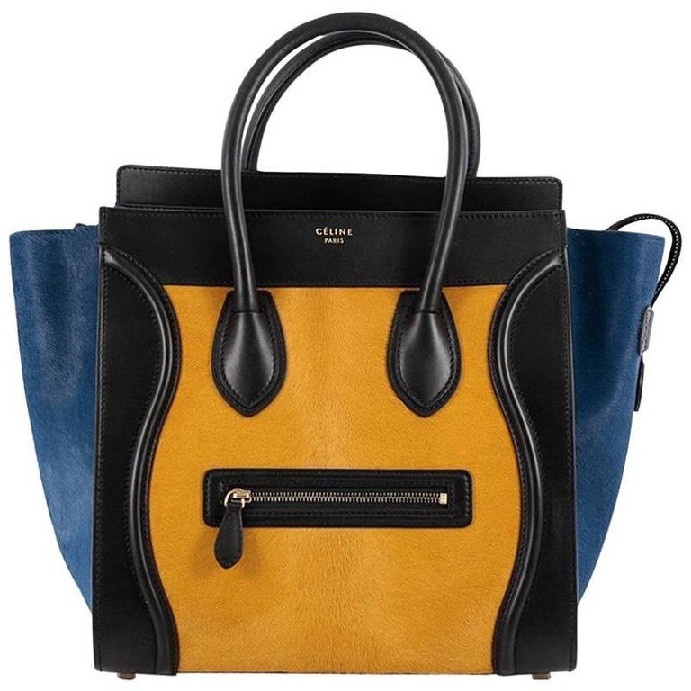 Celine Tricolor Luggage Handbag Pony Hair and Leather Mini For Sale