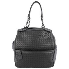 Bottega Veneta Zip Pocket Shoulder Bag Intrecciato Nappa with Snakeskin