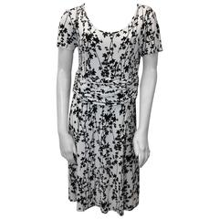 Celine Black and White Leaf Print Dress