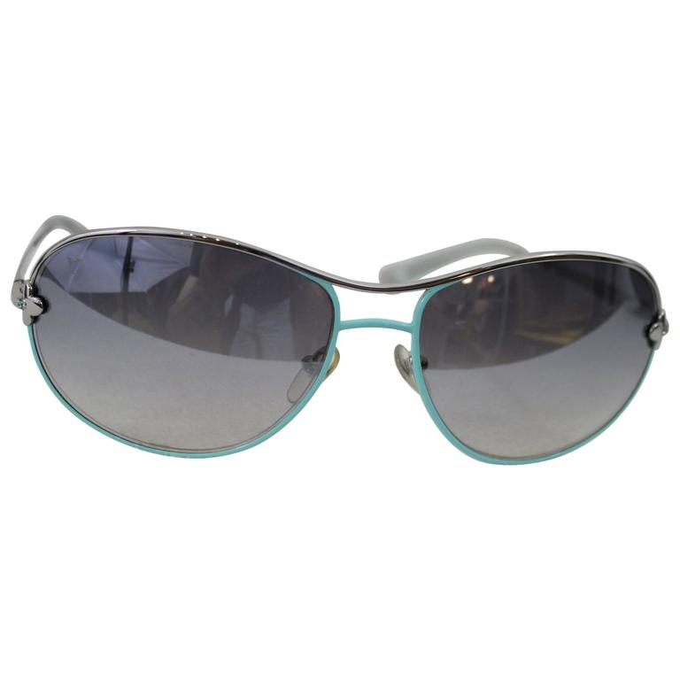 Louis Vuitton Steel Turquoise Sunglasses with Box