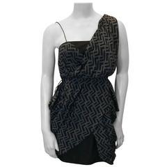 Alexander McQueen Chevron Print Asymmetrical Dress