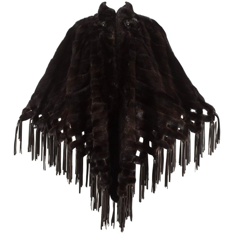 Christian Dior 1970s brown mink poncho with lambskin leather tassels  For Sale
