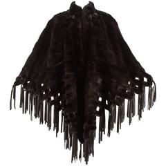Christian Dior 1970s brown mink poncho with lambskin leather tassels
