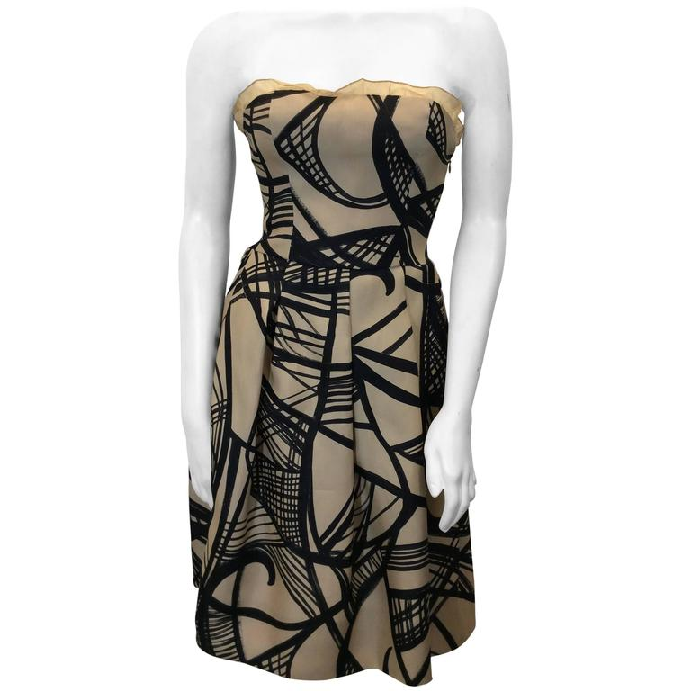 Giambattista Valli Cream and Black Printed Strapless Cocktail Dress For Sale